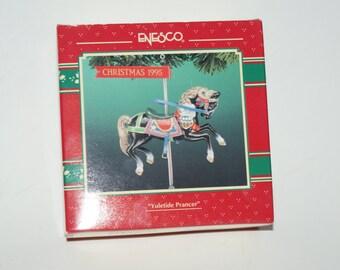 """Vintage Enesco 1995 """"Yuletide Prancer"""" Christmas / Holiday Ornament"""