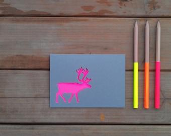 Reindeer Papercut Christmas Card: Neon and Grey, Xmas Card, Seasons Greetings, Rudolph