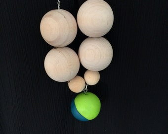 Wooden and polymer bead necklace