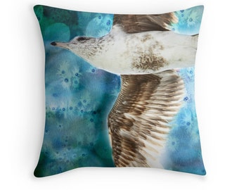 Bird Cushion, Seagull Pillow, Bird Pillow Covers, Flying Bird, Bird Decor, Nature Decor, Watercolor Cushion, Blue Brown Pillow, Beach Decor