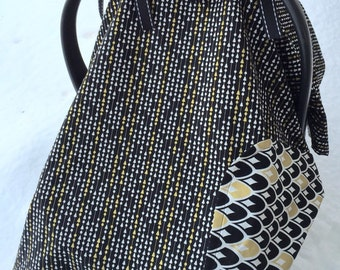 Reversible black and gold modern, neutral baby car seat canopy