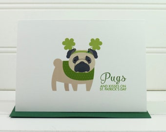 St. Patrick's Day Card, Pug Dog Card, Dog Dad, Dog Mom, Dog Lover, from the Dog, Cute Card, Husband, Wife, Boyfriend, Girlfriend, Funny Card