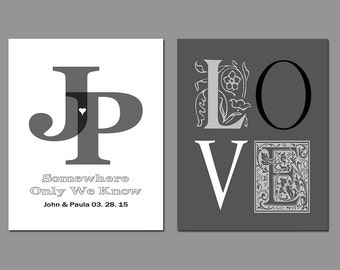 First Anniversary Gift - Paper Gift - Husband - Wife - Personalize With Your Own Names and Dates in Any Color Set of Two Prints