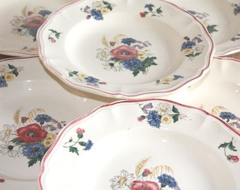 Floral Plates, French Plates, Sarreguemines, Salad Plates, French Vintage, Salad Servers, French Transferware, French Country Cottage