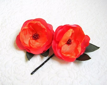 Orange Hair flowers roses Wedding hair pins Girls hair flowers Pink orange hair pins Hair flowers Summer hair pin Flower barrettes roses