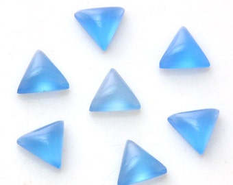 5- Pcs Lot Of Fine Blue Chalcedony Triangle Shape Loose Cabochon For Jewelry