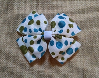 Polka Dot Hairbow, Green Hairbow, Blue Hairbow, Girls Hair Accessory, Girls Hairbow, Polka Dot Hair Clip, Toddler Hairbow, Child's Hairbow