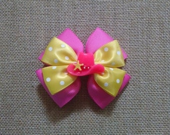 Cowboy Hairbow, Hat Hairbow, Girls Hairbow, Pink Hairbow, Girls Hair Accessory, Pink Cowboy Hairbow, Western Hairbow, Little Girls Hairbow