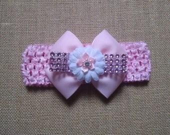 Pink Headband, Baby Headband, Baby Hair Accessory, Infant Headband, Baby Girl Headband, Girls Hairbow, Baby Bow Headband, Pink Baby Headband