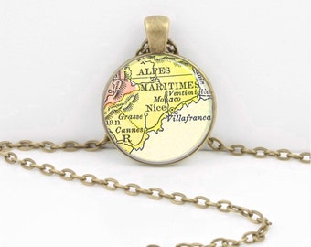 French Riviera  Cannes Nice France Vintage Map Geography Gift  Pendant Necklace or Key Ring