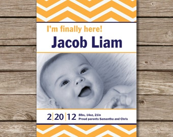 Chevron Baby Announcement, Gender Neutral, Printable, Digital File, Photo Card, Made to Order