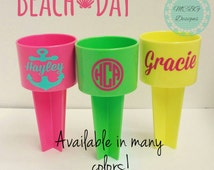 Beach spikers, personalized beach spikers, lake cup holders, lake accessories, beach items,beach accessories, cup holders,beach cup holder