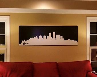 City Skyline Etched Glass Frame Louisville New York Las Vegas