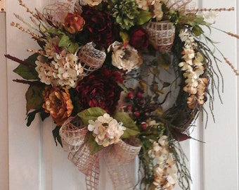 Winter Wreath, SHIPPING INCLUDED, Elegant Designer Luxury Grapevine Tuscan Peony Wreath, Large Silk Floral Wall, Door Arrangement, Wreath
