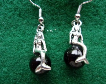 Black Pearl Mermaid Earrings