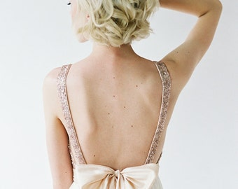 Christina's Bridesmaids - rose gold sequin plunging top with ivory chiffon skirt, and blush colored waistband and bow