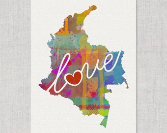 Columbia Love - Colorful Watercolor Style Wall Art Print & Home Country Map Artwork - Travel, Moving, Engagement, Wedding, Honeymoon Gift