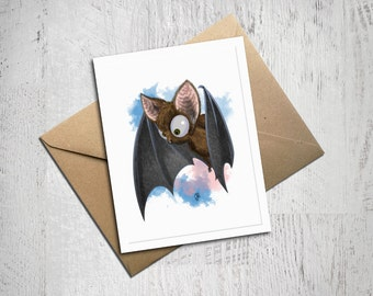 Little Brown Bat Greeting Card, Halloween, Disney, Made In Alaska