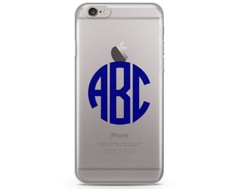 Circle  Navy Blue Monogram iPhone Case, iPhone SE case, iPhone 6s Case, iPhone 6s Plus case, iPhone 7 case, Clear Phone Case