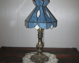 stained glass lamp shade country blue steel blue with white accents