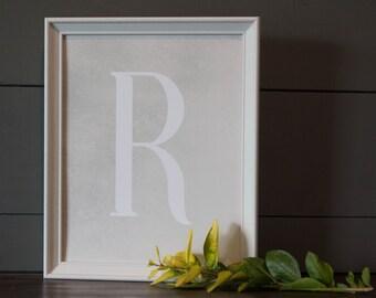 8 x 10 - Last Name Letter Print - Letter Art