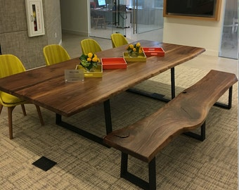 The Chase Live Edge Walnut Dining Table With Trapezoid Steel Legs, Walnut  Slab Dining Table