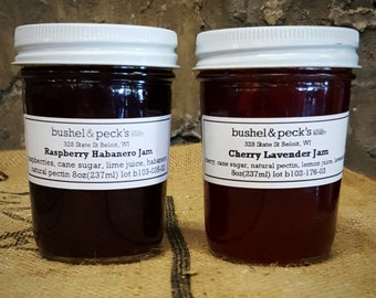 Small Batch Handmade Preserves - Raspberry Habanero and Cherry Lavender Duo