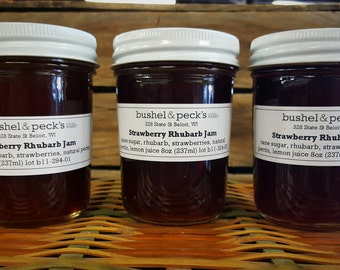 Small Batch Handmade B&P's Strawberry Rhubarb Jam - Set of Three