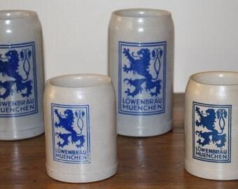 Vintage Set of 4 Lowenbrau Munchen Beer Steins Salt Glazed Stoneware Made in Germany