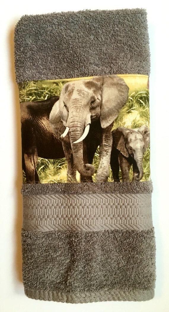 Decorated hand towel elephant decor bathroom decor kitchen for Elephant bathroom accessories