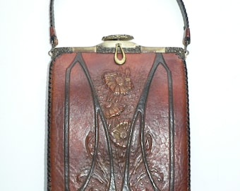 1915 - 1920's  Arts and Craft art Deco Tooled Leather Purse , by Jemco