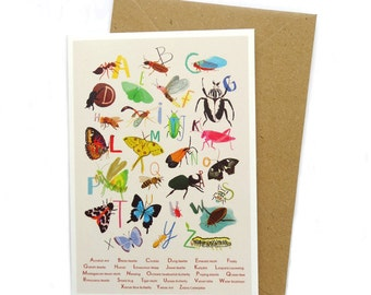 Insect Alphabet – A6 Greeting Card – Beetle bug butterfly Illustration – A to Z - GC10