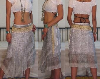 Ethnic VINTAGE Boho Gypsy WHITE cotton gauze silver metallic hippie wraparound bohemian beach wear summer skirt