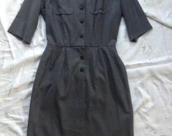 Vintage 1950's 60's Neiman Marcus Wool Short Sleeve Dress