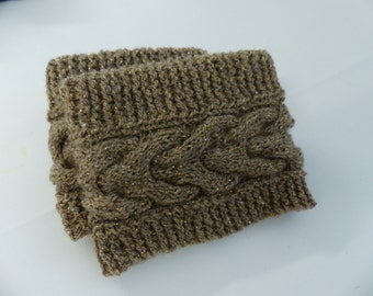 Knit boot cuffs, brown with flecks of gold
