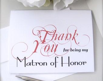 Bridesmaid thank you card, maid of honor card, flower girl thank you card, bridal party thank you card, wedding thank you, wedding card(ty4)