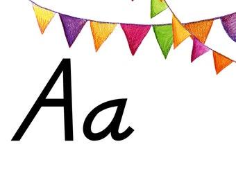 Large Script Alphabet Flash Cards Printable PDF