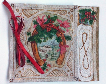 Unique Handmade Christmas card with Lucky Horseshoe from Handmade (recycled) paper, 13/11 cm, inside with vellum. Free Shipping