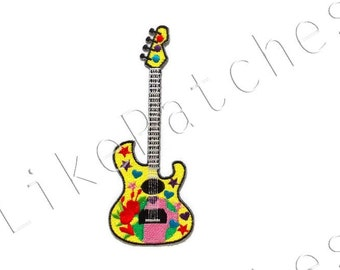 Fancy Guitar - Yellow Color - Music New Sew / Iron On Patch Embroidered Applique Size 5cm.x13cm.