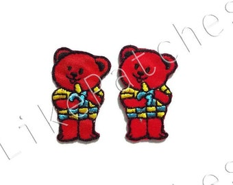 Set 2pcs. Little Red Bears Cute New Sew / Iron On Patches Embroidered Applique Size 2.1cm.x3.5cm.
