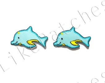 Set 2 pcs. Blue Lomas - Fishes - Cute Patches - New Sew / Iron on Patches Embroidered Applique Size 4.1cm.x2.4cm.