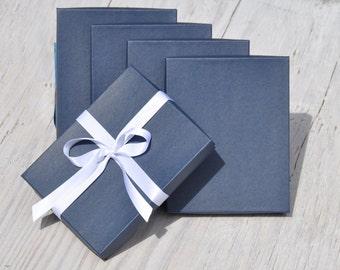 10 Navy Blue 7x5.5x1 Necklace Box with Cotton Fill Invitation Box Matte Favor Boxes