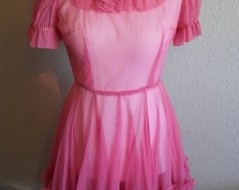 Vintage 1950's Pink Sheer polka dotted spotted accented ruffled full skirt dress made in the USA