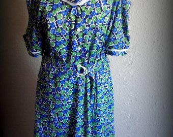 Vintage 40's style Blue Green Floral day dress  Plus size  Festival Dress