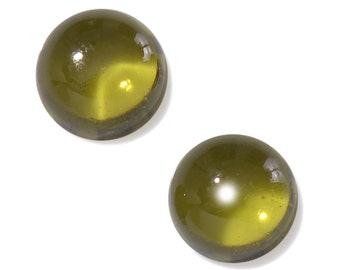 Italian Idocrase Set of 2 Round Cabochon Loose Gemstones 1A Quality 4mm TGW 0.55 cts.