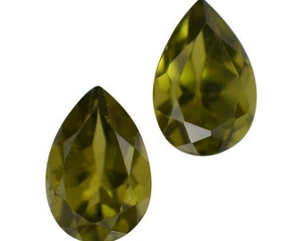 Italian Idocrase Set of 2 Pear Cut Loose Gemstones 1A Quality 6x4mm TGW 0.60 cts.