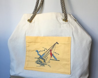 Yellow Nautical Pocket Sailboat Tote Bag with Rope Handle