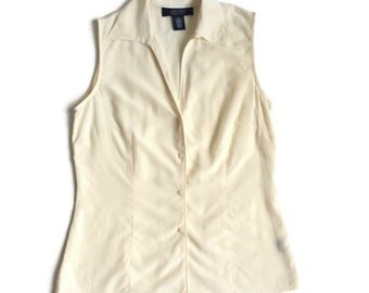 Ivory Silk Sleeveless Blouse