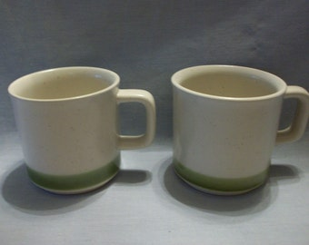 Stoneware Speckled/Green Band Mugs
