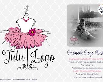 Premade Tutu Logo Design Boutique Logo Watermark Logo Photography Logo Bowtique Logo Branding Logo